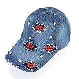 BAIELFES Rhinestone Red Lips Baseball Cap Unisex Denim Hip Hop Hat