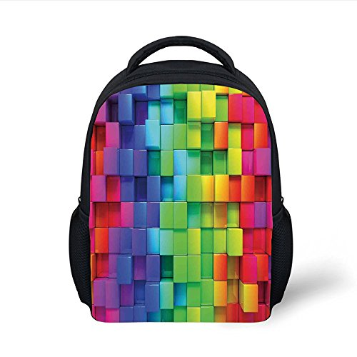iPrint Kids School Backpack Colorful Home Decor,Rainbow Color Contour Display Futuristic Block Brick Like Geometric Artisan,Multi Plain Bookbag Travel Daypack