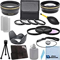 Pro Series 58mm 0.43x Wide Angle Lens + 2.2x Telephoto Lens + 3Pc Filter Sets + 4Pc Close Up Lens + Lens Hood with Deluxe Lens Accessories Kit for Canon EF-S 18-55mm f/3.5-5.6 IS II Lens, Canon EF-S 18-55mm f/3.5-5.6 IS STM Lens, Canon EF 75-300mm f/4-5.6 III USM Lens