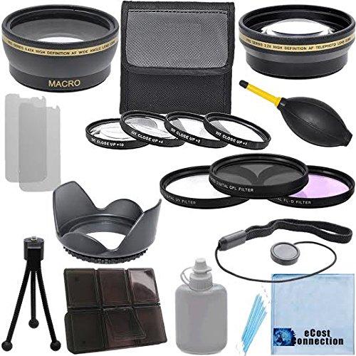 Pro Series 58 mm 0.43 X広角レンズ+ 2.2 X望遠レンズ+ 3個入りフィルタセット+ 4pc Close Upレンズ+レンズフードwithデラックスレンズアクセサリーキットfor Canon EF - S 18 – 55 mm f / 3.5 – 5.6 is IIレンズ、Canon EF - S 18 – 55 mm f / 3.5 – 5.6 is STMレンズ、Canon EF 75 – 300 mm f / 4 – 5.6 III USMレンズ   B00HUZEI2E
