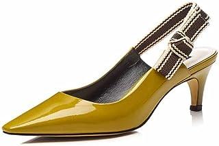 SHINIK Femmes Pointues Sandales 2018 Été Ruban Verni en Cuir Slingback Minimaliste Talons Hauts