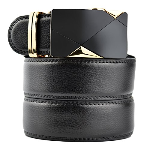 Mens Leather Belt With Automatic Buckle Ratchet Belt 1.38