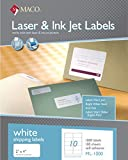 MACO Laser/Ink Jet White Shipping Labels, 2 x 4 Inches, 10 Per Sheet, 1000 Per Box (ML-1000)