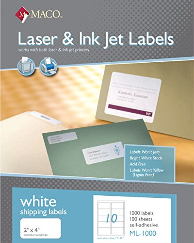 Maco Tag & Labe MACO Laser/Ink Jet White Shipping Labels,...