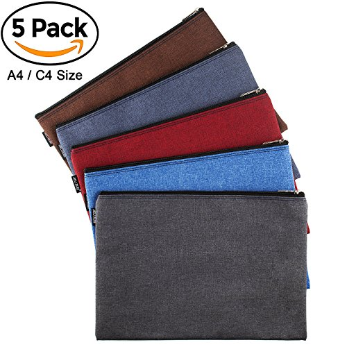 16 Ounce Sack - CenterZ 5 Pack Canvas Zipper Tool Bag Set, 13x9.5 inch 16oz Heavy Duty Waterproof Multipurpose Utility Multi Tool Storage Pouch Case for Organizing and Sorting Household Tools, Spare Parts (5 Colors)