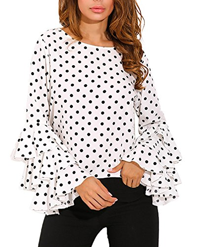 ZANZEA Polka Dot Ruffle Tops Bell Sleeve Blouses Long Sleeve Shirt for Women White Polka Dot L (Black And White Polka Dot Long Sleeve Shirt)