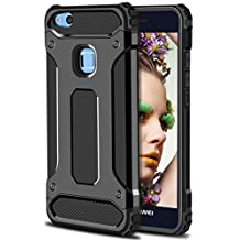 Huawei P10 Lite Case,Wollony Rugged Hybrid Dual Layer Armor Protective Back Case Shockproof Cover for Huawei P10 Lite - Slim Fit - Heavy Duty - Impact Resistant Bumper (Black)