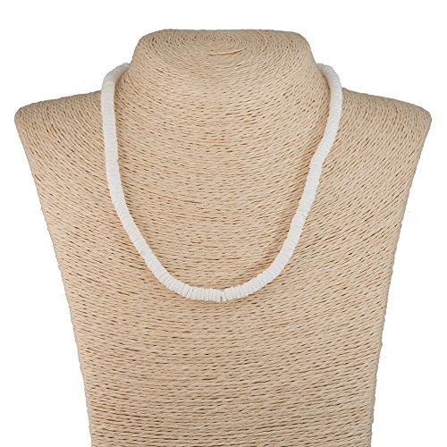 Necklace White Surfer - BlueRica Smooth Puka Shell Beads Necklace (14 Inches)