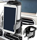 Car Cup Holder with Smartphone Mount, Fully adjustable to fit most cars, phones and cup sizes, for iPhones 4 and 5 all the way up to the large iPhone 6 Plus with a case and most Android phones