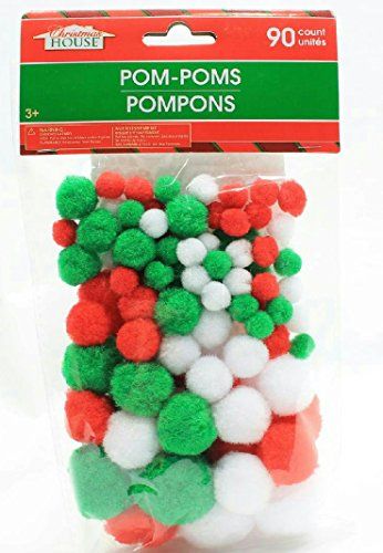 Craft Pom Poms Red Green White Assorted Sizes 180 Count
