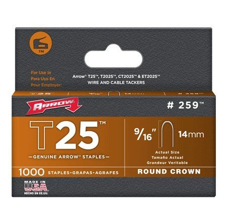 Arrow Fastener 259 Genuine T25/T2025 9/16-Inch Staples, 1,000-Pack (Arrow T2025 Staple Gun)