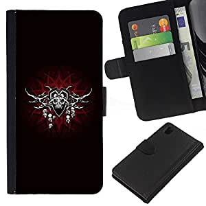KingStore / Leather Etui en cuir / Sony Xperia Z1 L39 / Skulls Símbolo Nwo masones Rojo Gris Cabeza
