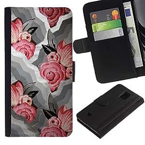 All Phone Most Case / Oferta Especial Cáscara Funda de cuero Monedero Cubierta de proteccion Caso / Wallet Case for Samsung Galaxy S5 Mini, SM-G800 // Waves White Pink Floral Pattern