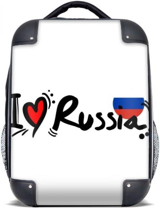 DIYthinker Amo Rusia palabra bandera ilustración del amor del corazón del estuche rígido de transporte para hombro Niños Mochila 15