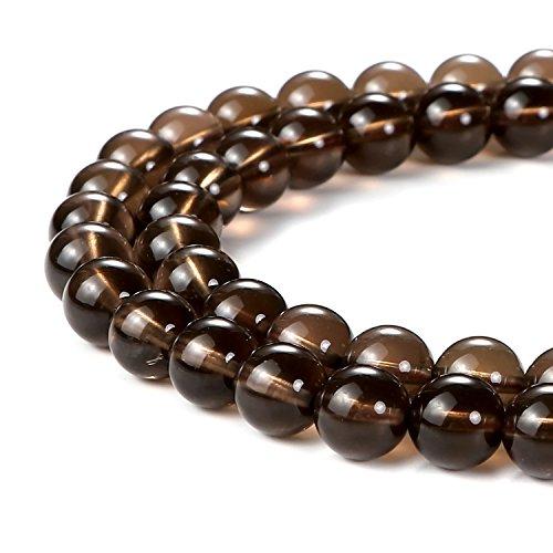 Smoky Quartz Beads (BEADNOVA 8mm Smoky Quartz Gemstone Round Loose Beads for Jewelry Making (45-48pcs))