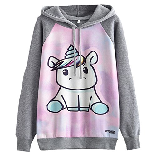 Takra Harajuku Hoodie Cute Unicorn Cartoon Printed Kawaii Sweatshirts for Women L