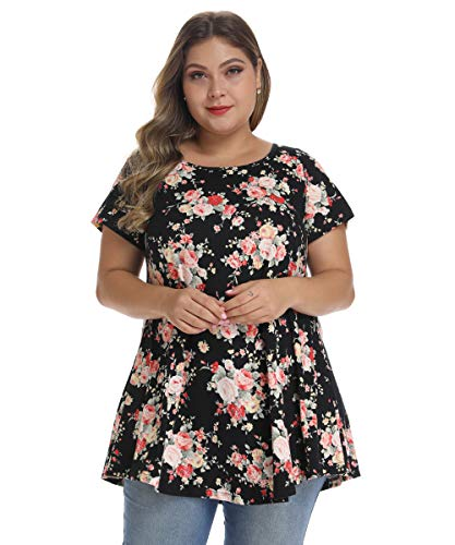 MONNURO Womens Short Sleeve Casual Loose Fit Flare Swing Tunic Tops Basic T-Shirt Plus Size(Floral04,2X)