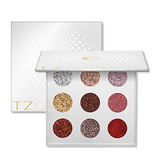 Red Queen Costume Makeup (9 Colors Eyes Makeup Glitter Highly Pigmented Mineral Pressed Glitter Colorful Makeup Eye Shadow Flash Glitter Eyeshadow Palette)