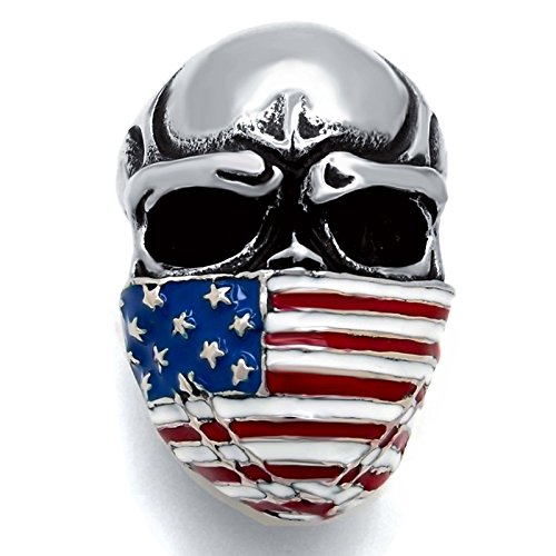 American Flag Ring - Elfasio Men's Stainless Steel Band Ring American Flag Mask Skull Biker (Us size 11)