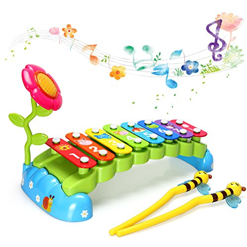 New HOMOFY Baby Toys Xylophone for Kids Rainbow Bridge with 8 Bright Multi-Colored Keys and Two Mallets,One Flower,The Best Musical Instrument Toys for Boys and Girls for sale