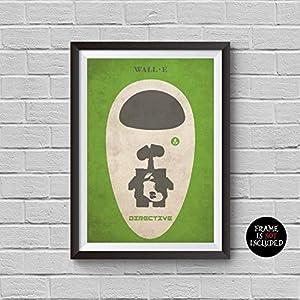 WALL·E Minimalist Poster Wall-e Animation Alternative Movie Print Disney and Pixar Collection Wall-E Eva M-O Robot Home Decor Cinema Poster Artwork Wall Art Wall Hanging Cool Gift