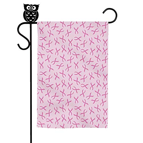 LAIDIAN Welcome Garden Flag 12 18 Inch Breast Cancer Ribbon Pattern Polyester Decorative Flags