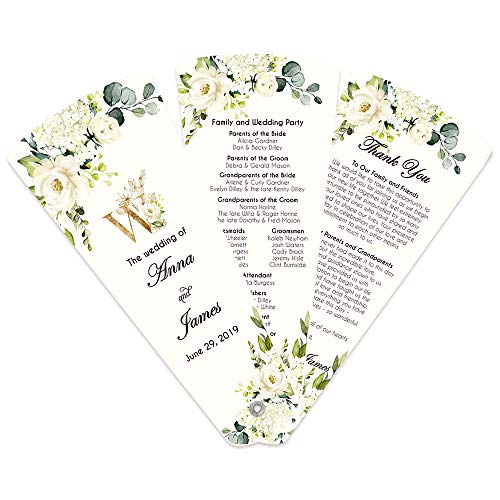 Doris Home 50pcs Wedding Program Fan Petal Fan Programs Fan Programs Navy and Blush -