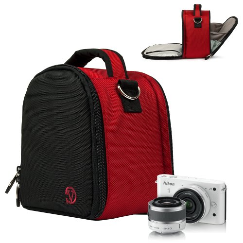 Nikon 1 Camera Case, Flip Out Design Accessories Bag Bundle (Red Laurel Luxury Woven Case) Guaranteed to fit Any Nikon 1 Digital Camera System, Camera of the ()