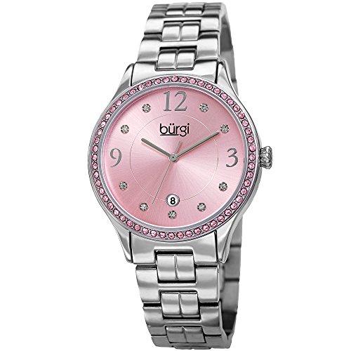 Burgi Women's Quartz Pink Swarovski Crystal Accented Silver-Tone Bracelet Watch - BUR180SSPK