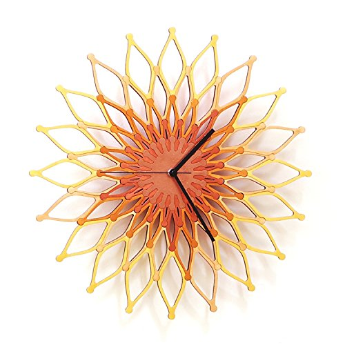 Fireworks II - Large Stylish Wooden Wall Clock, Sunburst...