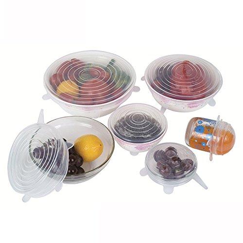 Silicone Stretch Lids Reusable Eco-Friendly Heat Resistant Silicone Bowl Lids Food Covers for Bowls Pots Cups 6Pcs Set Microwave & Freezer Safe (Clear)