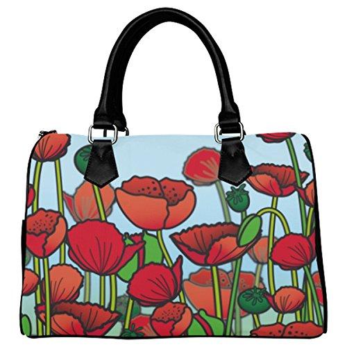 Jasonea Women Boston Handbag Top Handle Handbag Satchel Field Of Poppy Flowers Basad129013