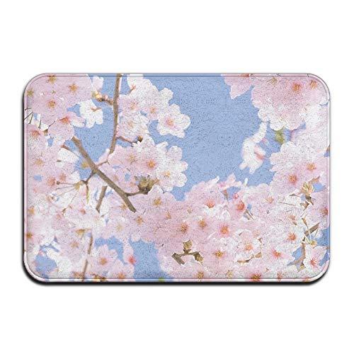 Non Slip Door Mat Outdoor,Decorative Garden Office Bathroom Door Mat with Non Slip, Entry Way Door Mat Rug with Non Slip Backing Cherry Blossoms Indoor Doormat for ()