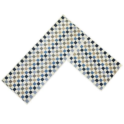 (O'Family 2 Piece Microfiber Chevron Non-Slip Soft Kitchen Mat Bath Rug Doormat Runner Capet Set,Mosaic Design)