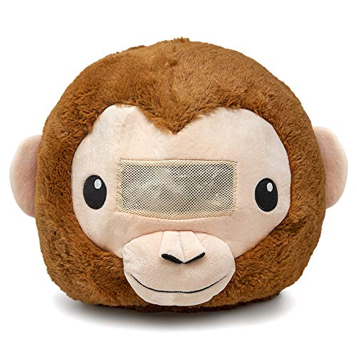 Plush Animal Head Mask Costume | Fun Furry Mascot Head with Mouth Opening (Monkey) Brown