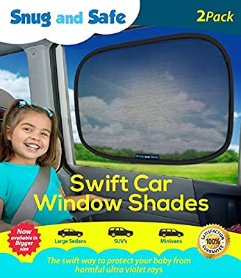 Snug And Safe Car Sun Shade Visor Set, Black, Pack of 2