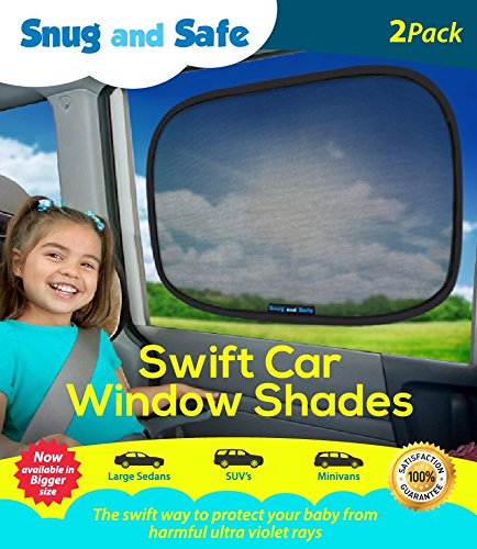 Snug and Safe Swift Car Window Shades with UV Heat Rays Glare, 14x21-Inch, 2-Pack (Batman Car Shade compare prices)