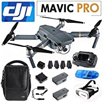 "DJI Mavic Pro Fly More Combo Foldable Quadcopter with Remote, 1/2.3"" CMOS Camera Sensor Drone Including 2 Extra Battery, 1 Shoulder Bag, 1 SD Card Reader and 2.0 Google 3D VR Headset"