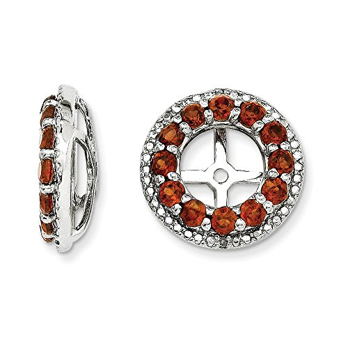 Sterling Silver Rhodium Diamond & Garnet Earring Jacket by Jewels By Lux (Image #2)