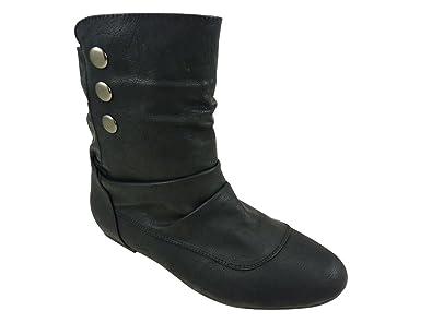 e104be37b2c Bottines Boots femme plates cloutées Noir  Amazon.fr  Chaussures et Sacs