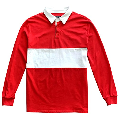 Kings Of NY Classic Mens Long Sleeve Sports Polo Rugby Shirt Large Red ()
