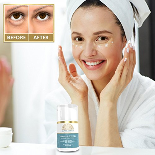 Vitamin C Eye Gel for Under Eye Bags Treatment Dark Circles Puffiness Wrinkles Crows Feet and Anti Aging Skin Care with Hyaluronic Acid Made in USA by SunBlessed Botanicals by SunBlessed Botanicals (Image #1)