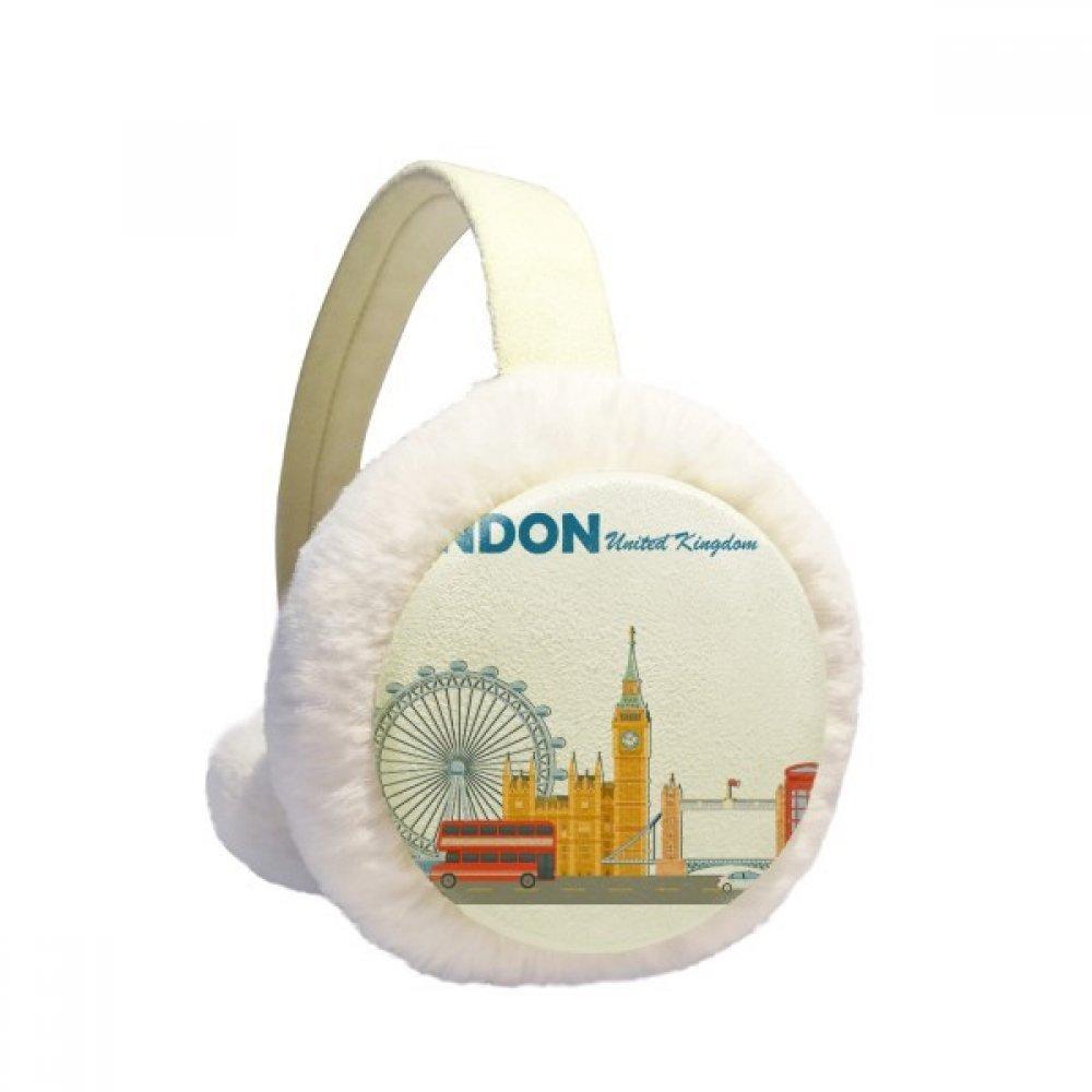 London Eye Double-Decker Buses Graffiti Winter Earmuffs Ear Warmers Faux Fur Foldable Plush Outdoor Gift