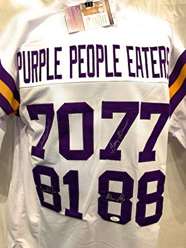 Alan Page Carl Eller Jim Marshall Gary Larsen Minnesota Vikings Signed Autograph White Custom Jersey Purple People Eaters JSA Certified