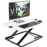 VIVO White Height Adjustable Standing 32' Desk Sit Stand Converter Tabletop Monitor Laptop Riser Platform Station (DESK-V000H)
