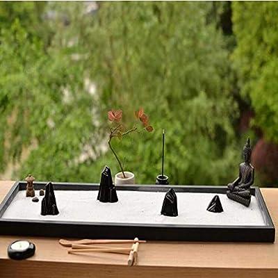 Hjyi Meditación Zen Garden,Jardin Zen Estilo Chino Sala de Estar Mesa de Té Micro Paisaje Zen Adornos de Escritorio Mesa de Arena Seca de Montaña Accesorios para El Hogar Regalo: Amazon.es: Hogar