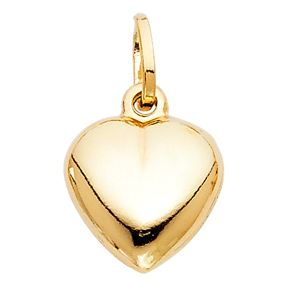 with 18 Rolo Chain 13mm x 13mm 14k Yellow Gold Mini Hollow Heart Charm Pendant