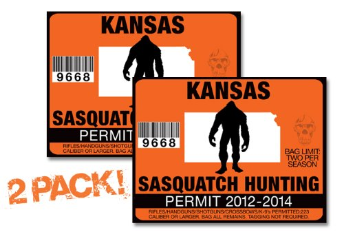 Kansas-SASQUATCH HUNTING PERMIT LICENSE TAG DECAL TRUCK POLARIS RZR JEEP WRANGLER STICKER 2-PACK!-KS