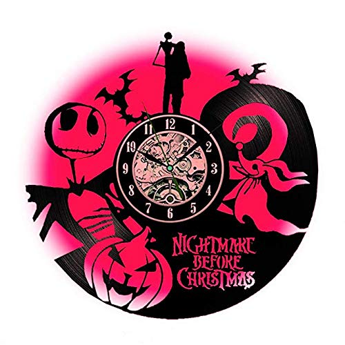 The Nightmare Before Christmas Vinyl Record Wall Clock LED Lamp- Romantic Night Light -Great Gift for Kids Halloween (12