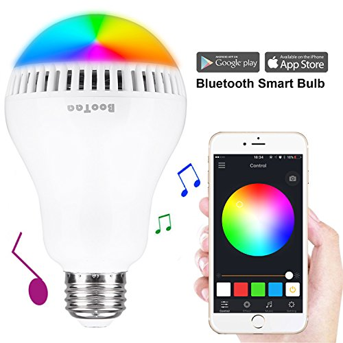 Bluetooth Light Bulb Speaker, E26 Base, BooTaa Smartphone Controlled Sunrise Wake Up Lights- Dimmable Multicolored Color Changing Party Lights Bulb -8W (White 5W+RGB 3W) (50Watts (Low Rise Glitter)